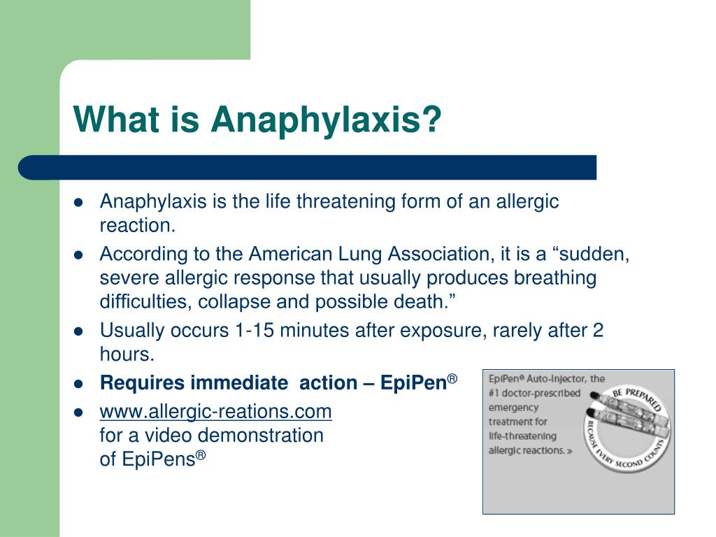 Anaphylaxis is the life threatening form of an allergic reaction.