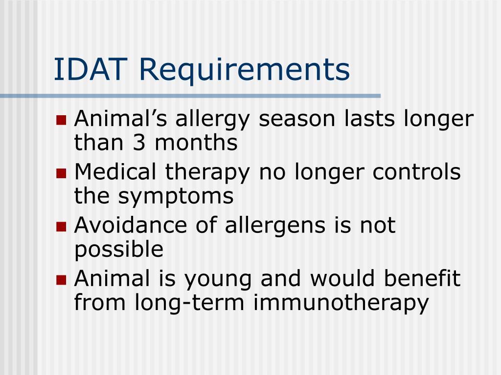 IDAT Requirements