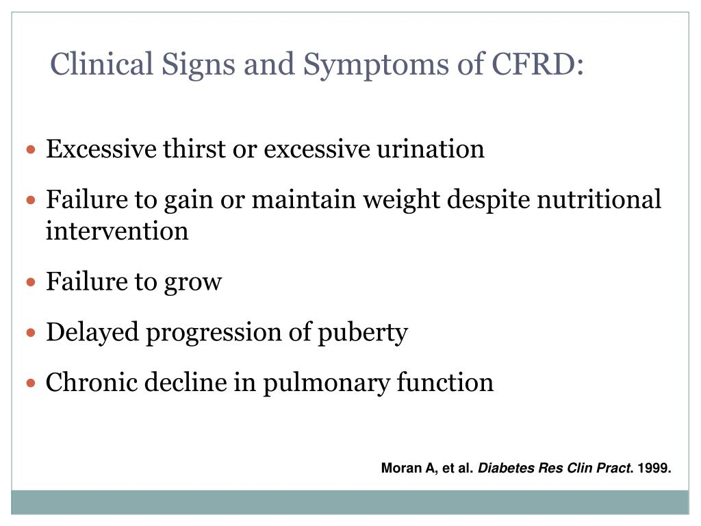 Clinical Signs and Symptoms of CFRD: