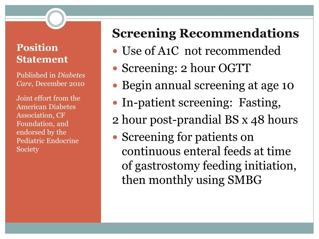 Screening Recommendations