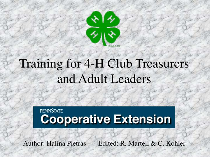 Training for 4 h club treasurers and adult leaders