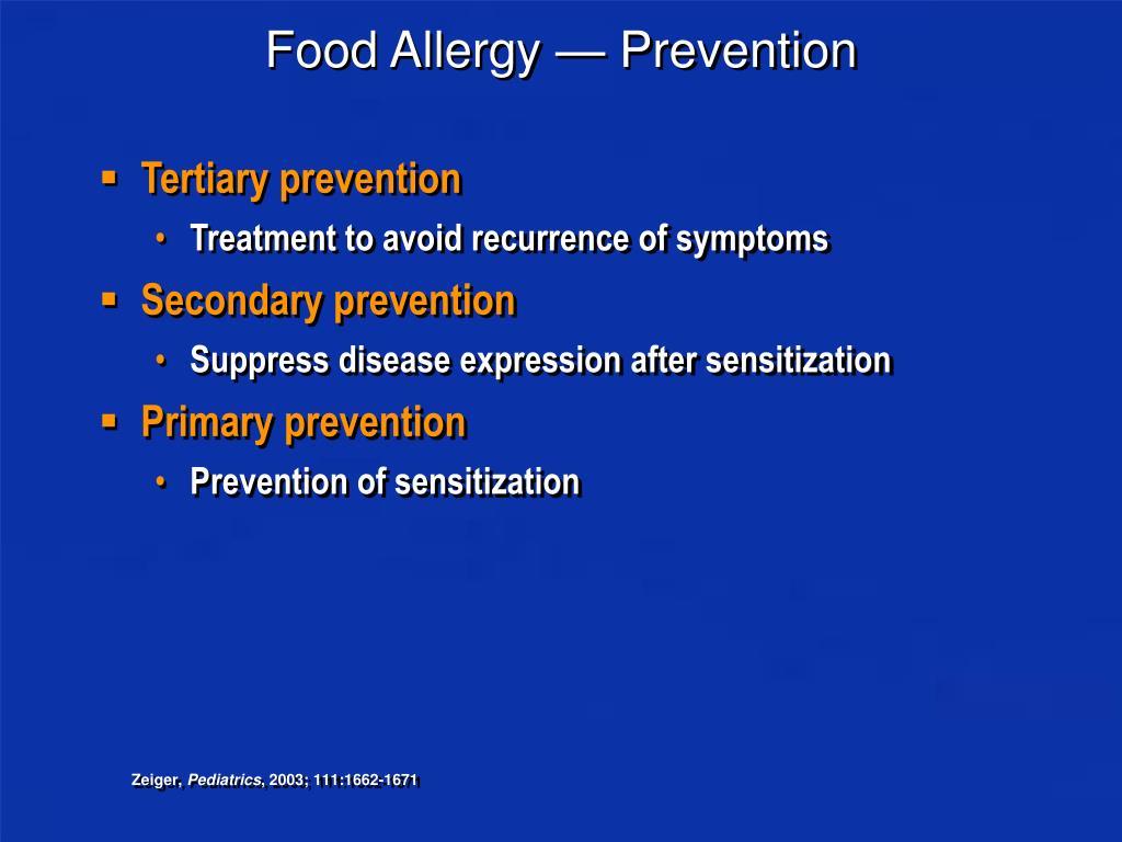 Food Allergy — Prevention