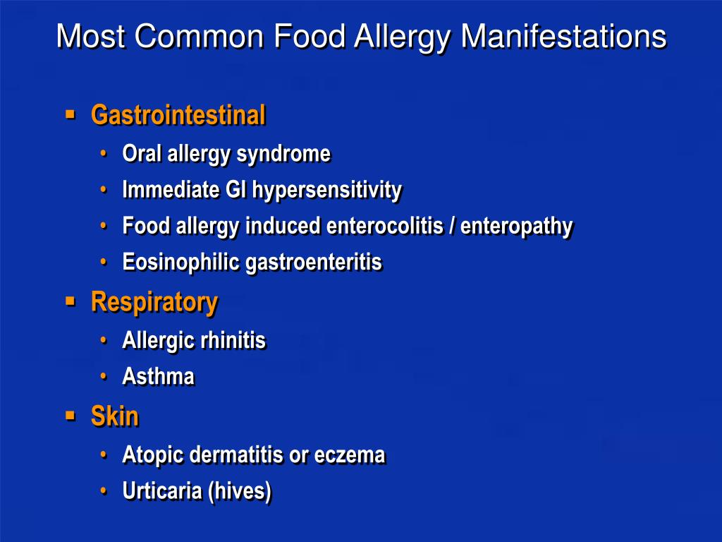 Most Common Food Allergy Manifestations