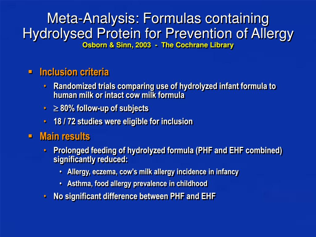 Meta-Analysis: Formulas containing