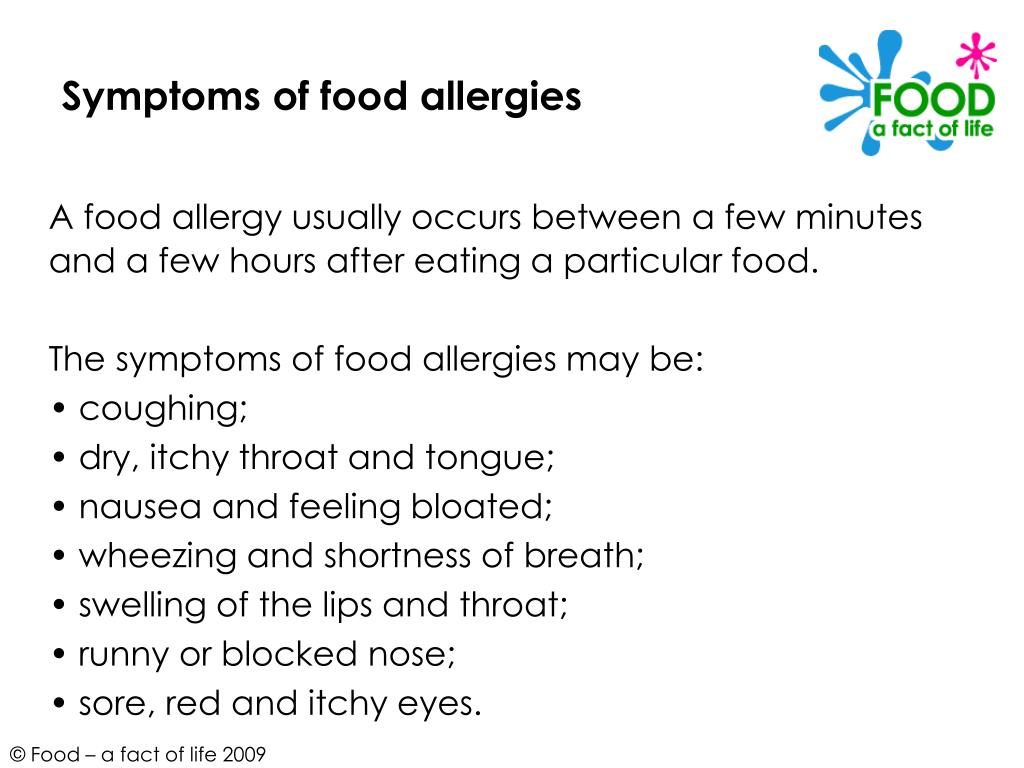 Symptoms of food allergies