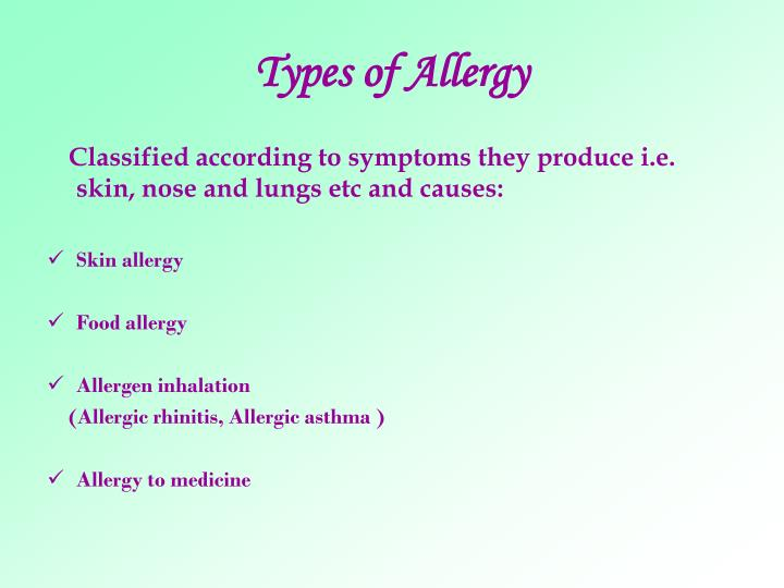 Types of allergy