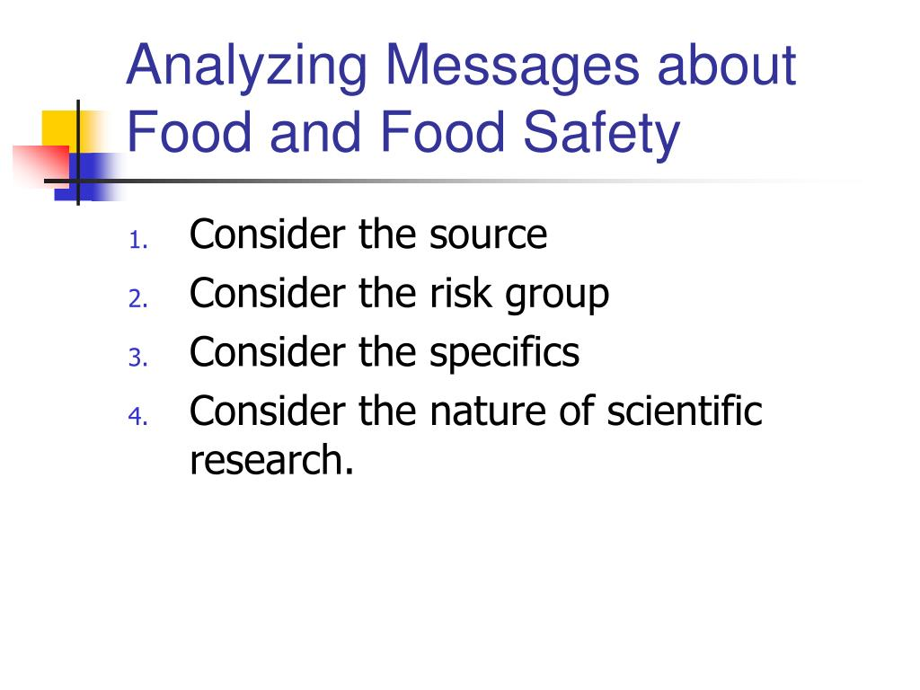 Analyzing Messages about Food and Food Safety