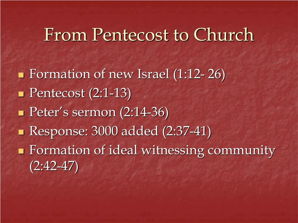From Pentecost to Church