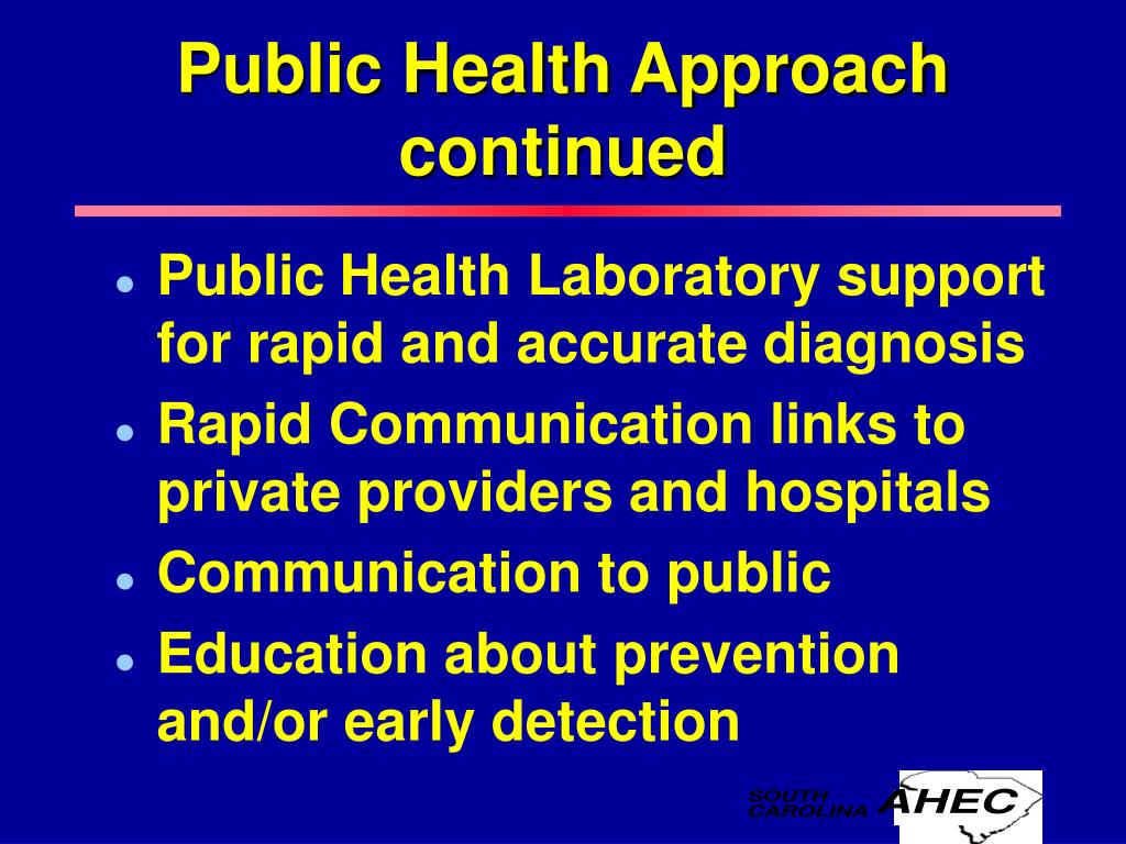 Public Health Approach continued