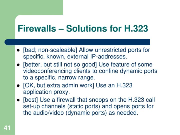 Firewalls – Solutions for H.323