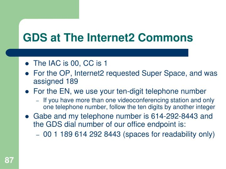 GDS at The Internet2 Commons
