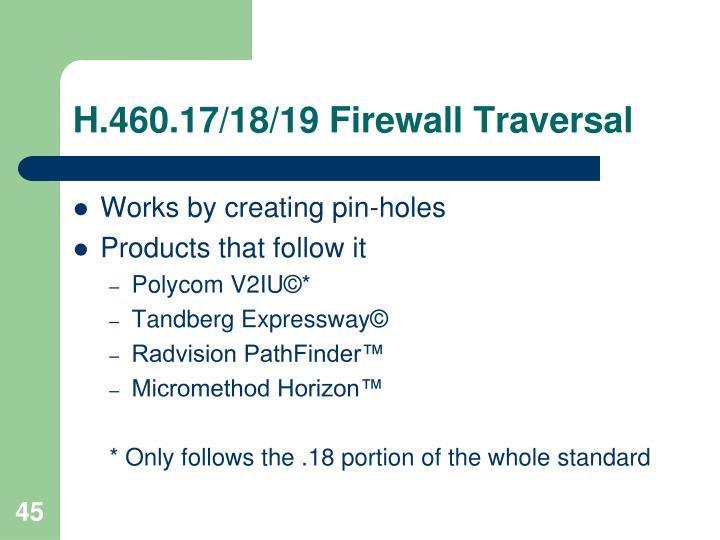 H.460.17/18/19 Firewall Traversal