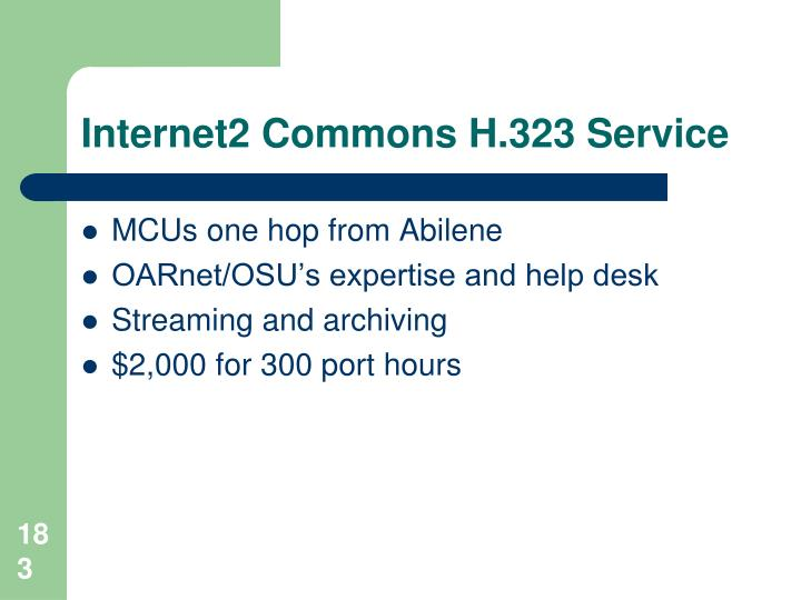 Internet2 Commons H.323 Service