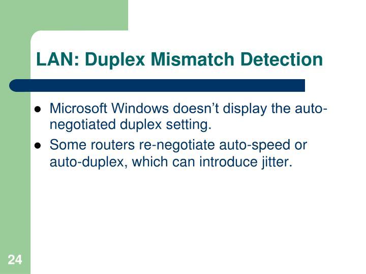 LAN: Duplex Mismatch Detection