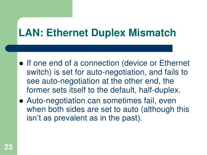 LAN: Ethernet Duplex Mismatch