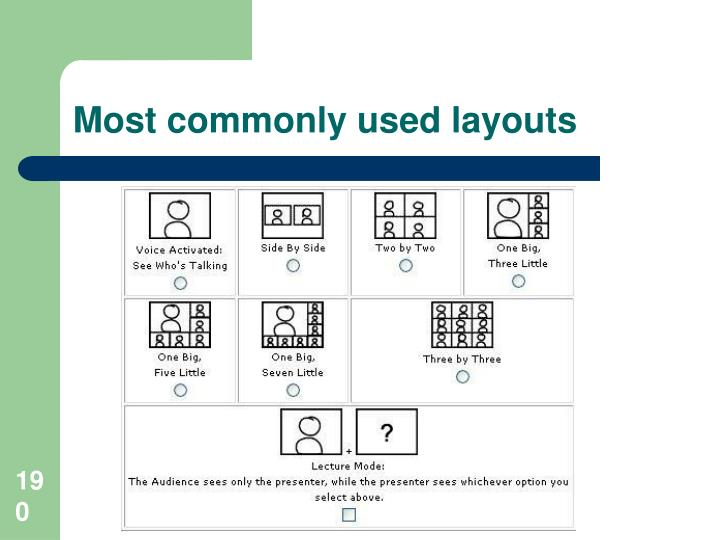 Most commonly used layouts