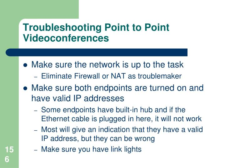 Troubleshooting Point to Point Videoconferences