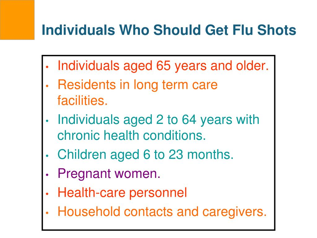 Individuals Who Should Get Flu Shots