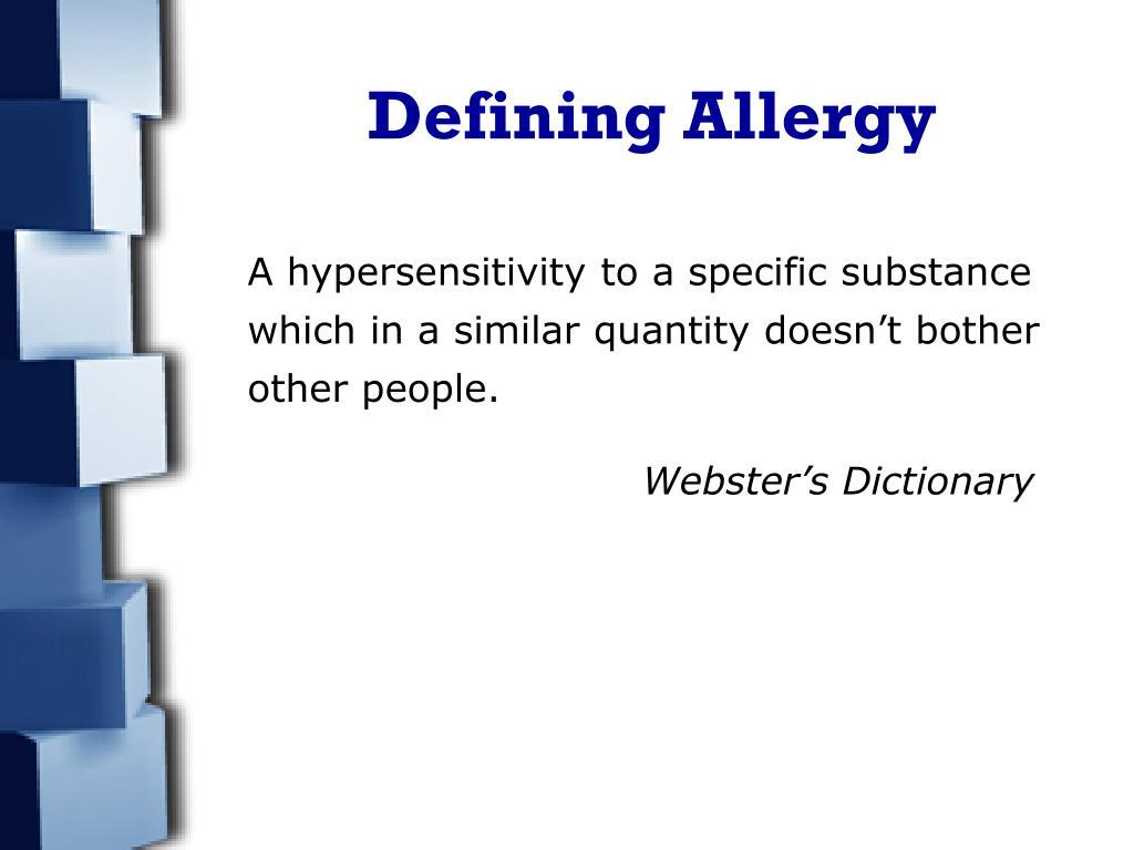 Defining Allergy