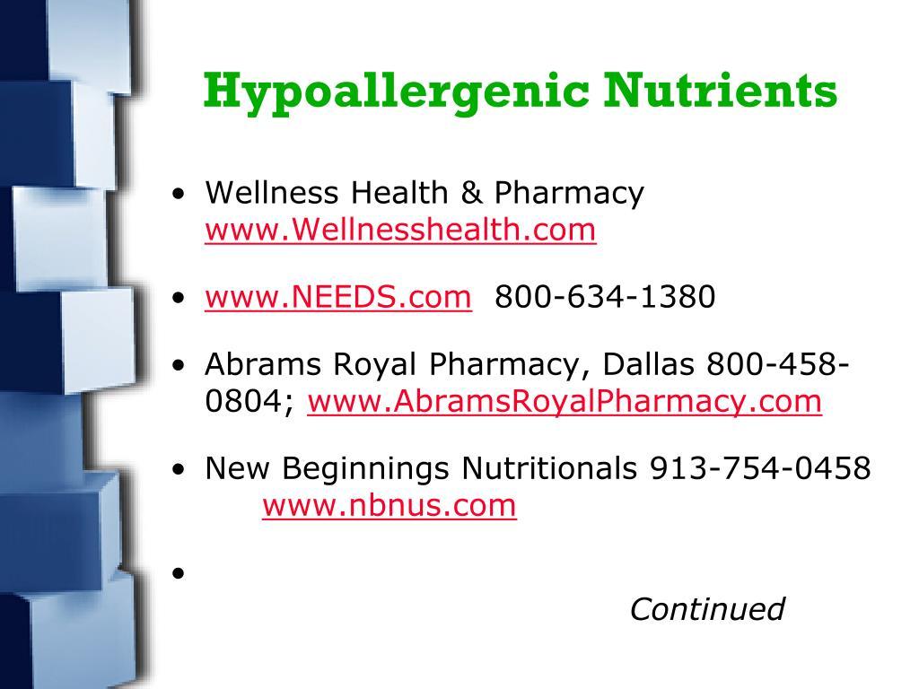 Hypoallergenic Nutrients