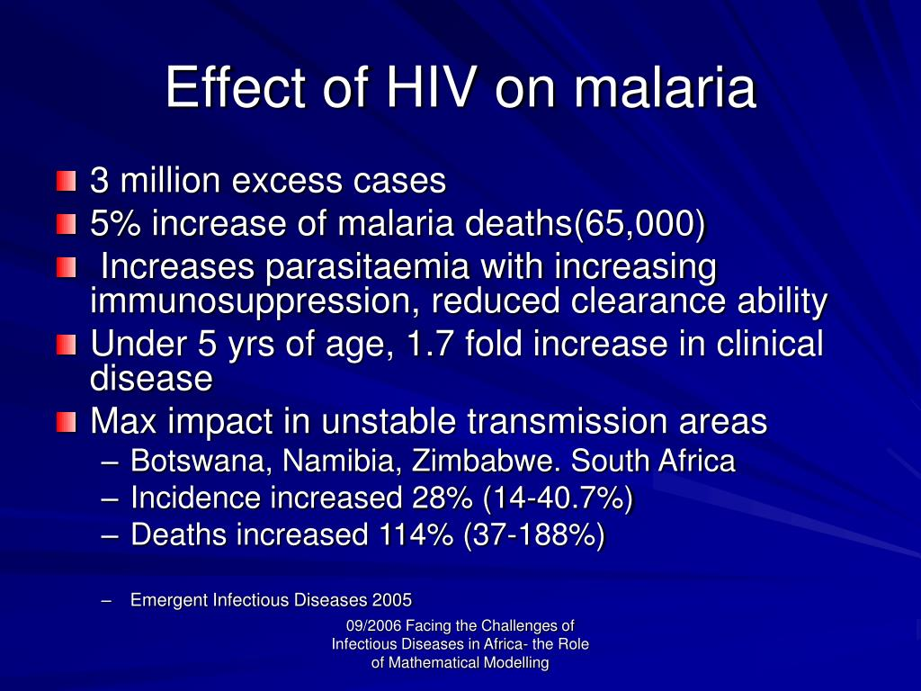Effect of HIV on malaria