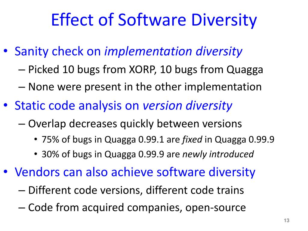 Effect of Software Diversity
