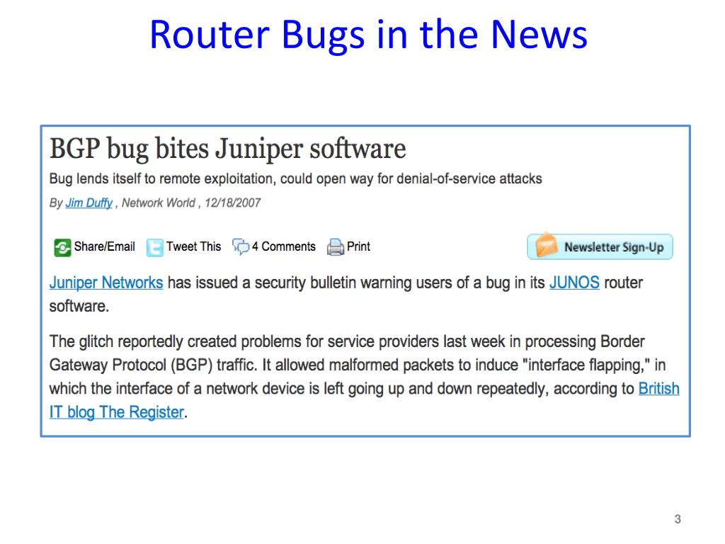Router Bugs in the News