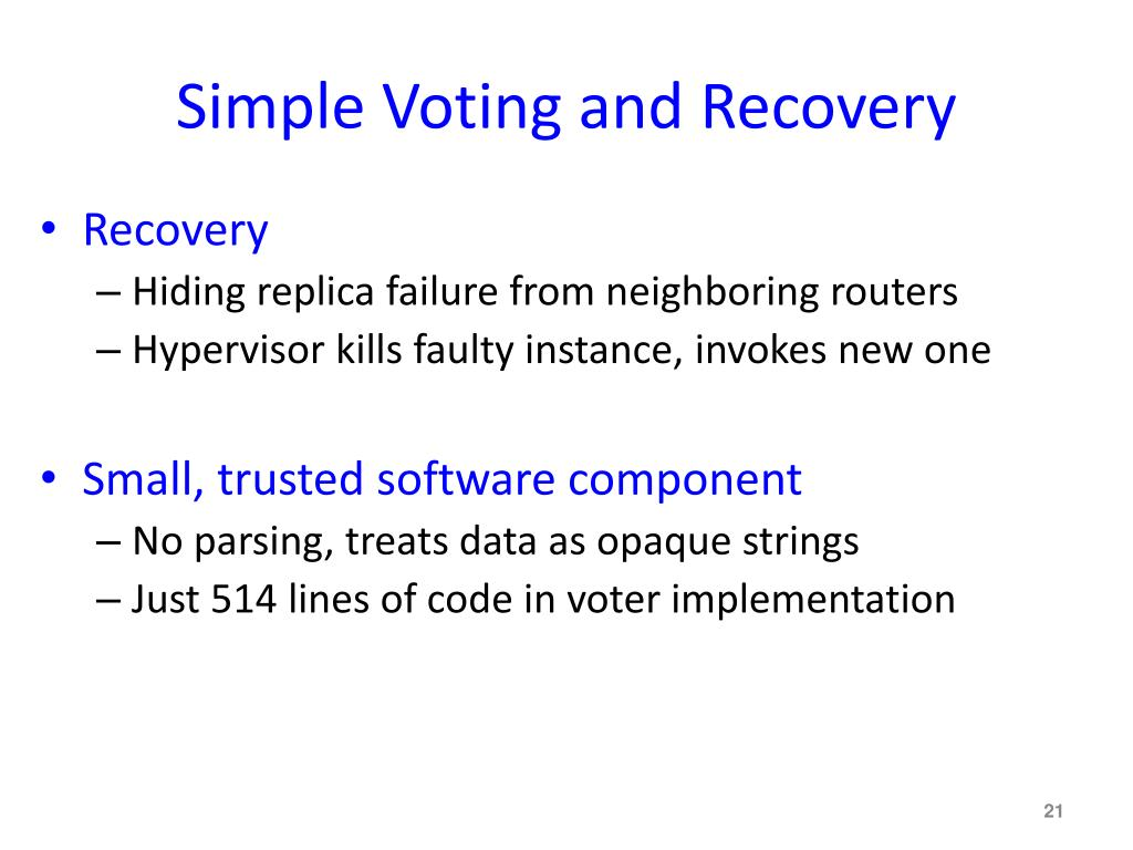 Simple Voting and Recovery