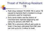threat of multidrug resistant tb