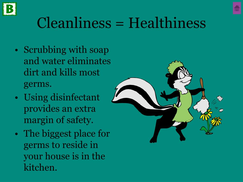 Cleanliness = Healthiness