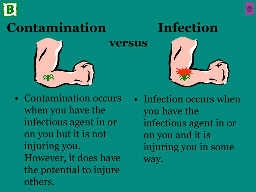 Infection occurs when you have the infectious agent in or on you and it is injuring you in some way.