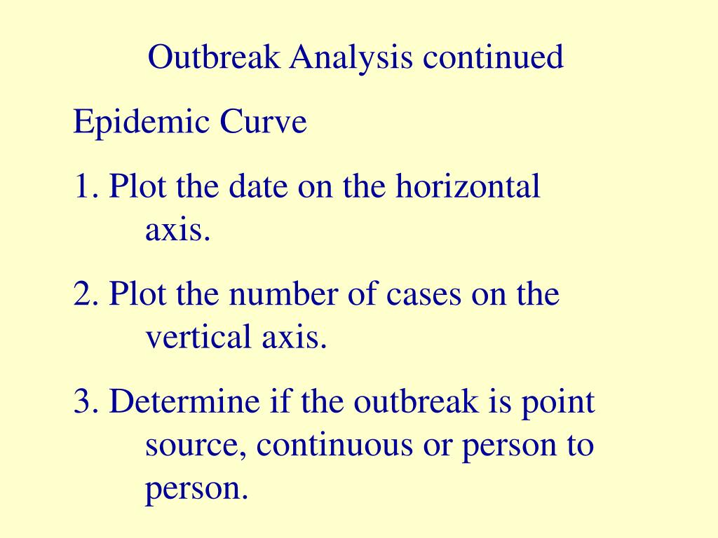 Outbreak Analysis continued