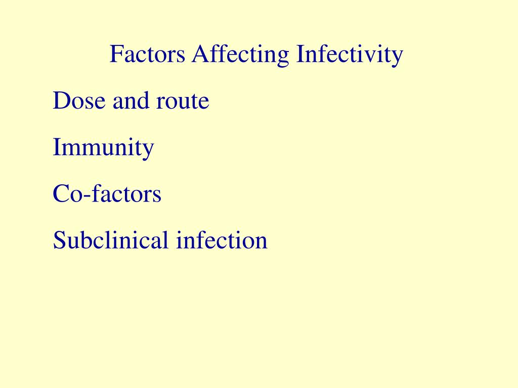 Factors Affecting Infectivity