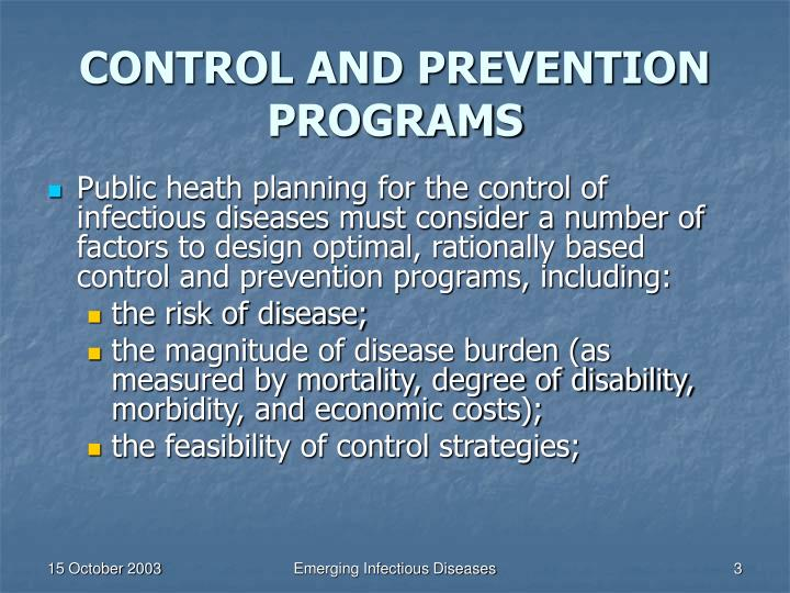 Control and prevention programs