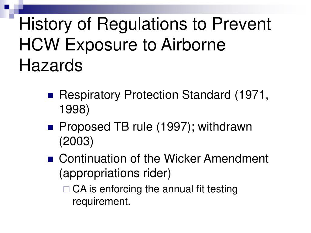 History of Regulations to Prevent HCW Exposure to Airborne Hazards