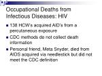 occupational deaths from infectious diseases hiv