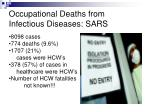 occupational deaths from infectious diseases sars