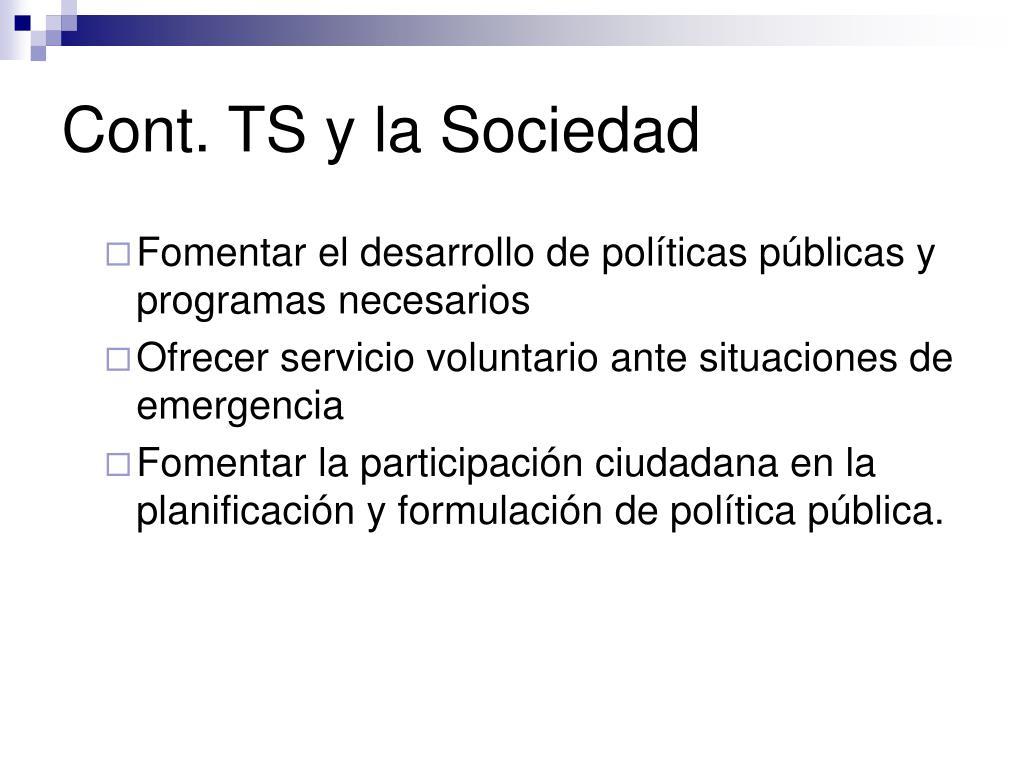 Cont. TS y la Sociedad