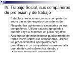 iv trabajo social sus compa eros de profesi n y de trabajo