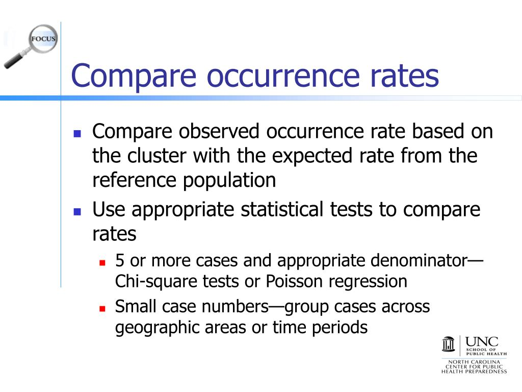 Compare occurrence rates