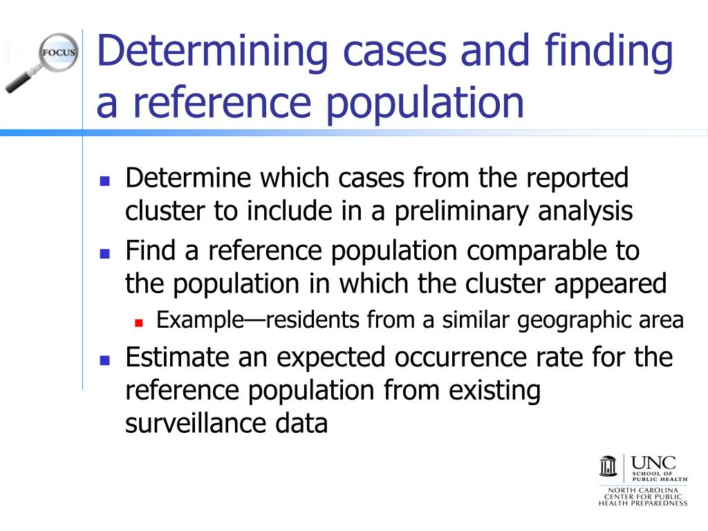 Determining cases and finding a reference population