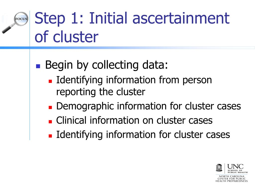 Step 1: Initial ascertainment of cluster
