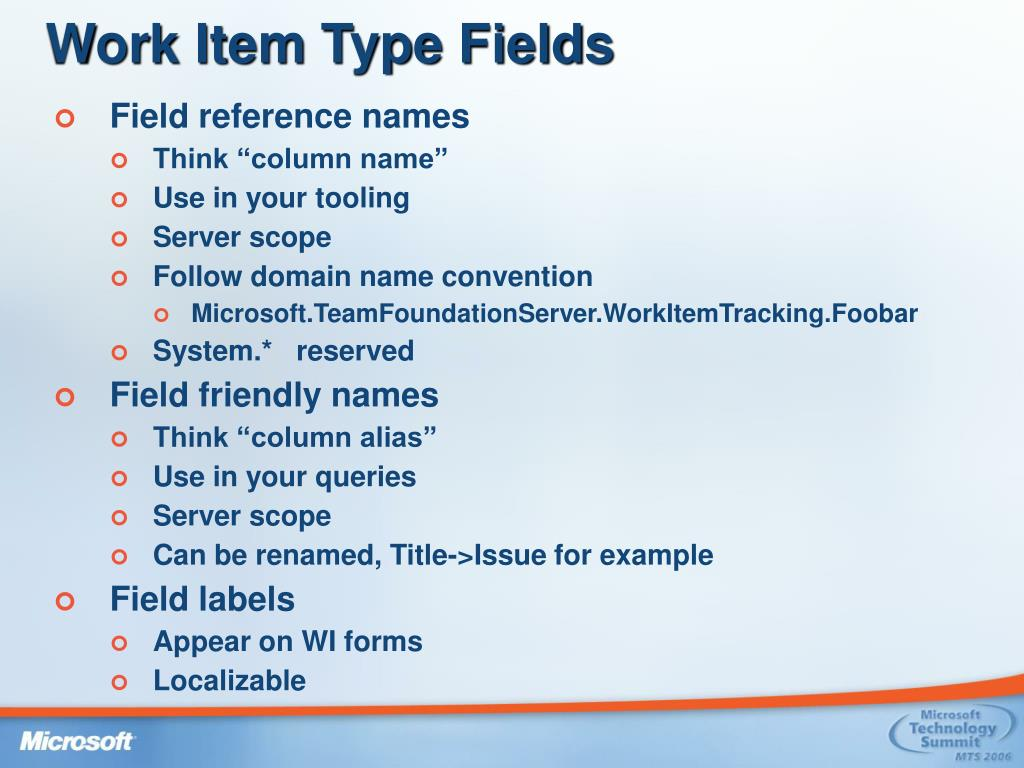 Work Item Type Fields