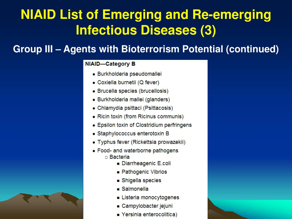 NIAID List of Emerging and Re-emerging Infectious Diseases (3)
