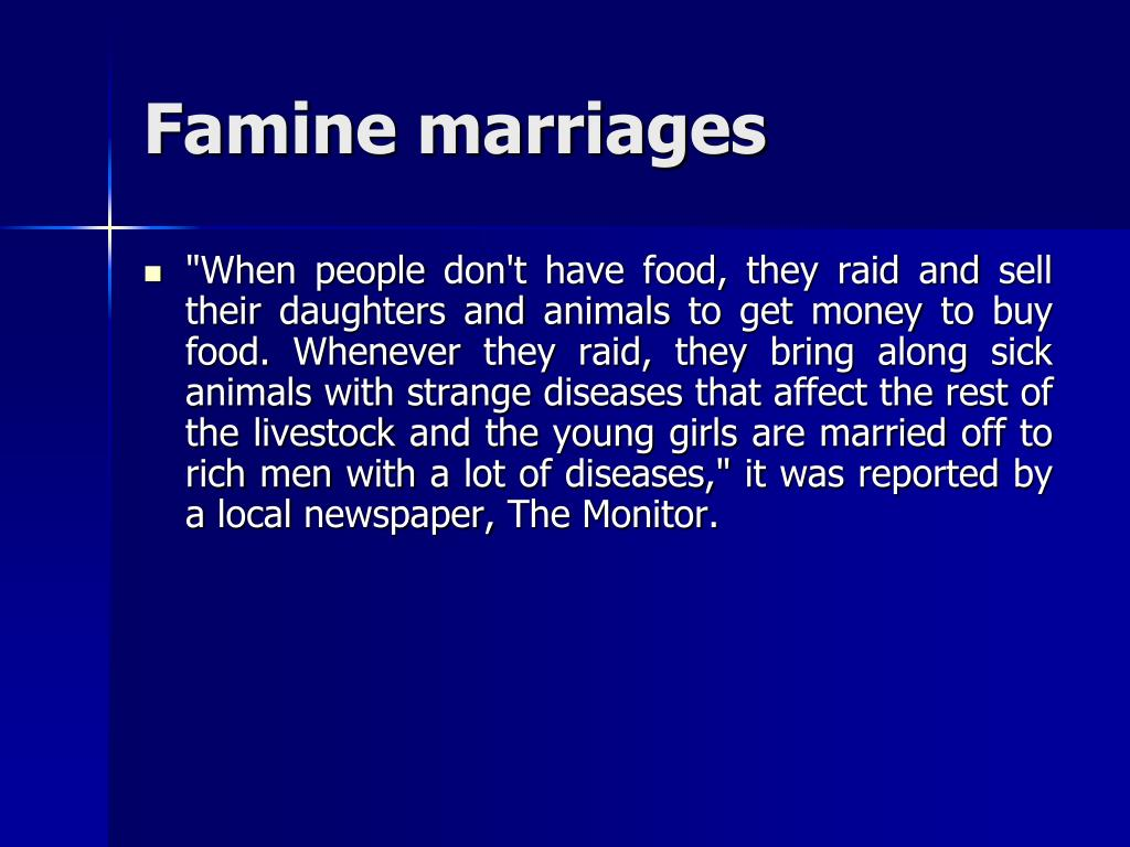 Famine marriages