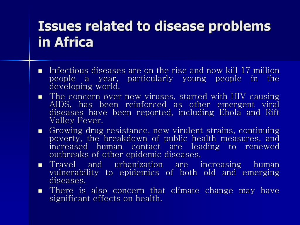 Issues related to disease problems in Africa