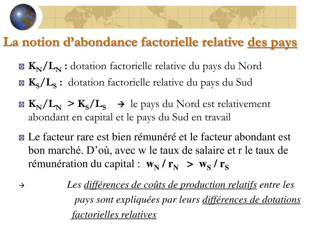 La notion d'abondance factorielle relative