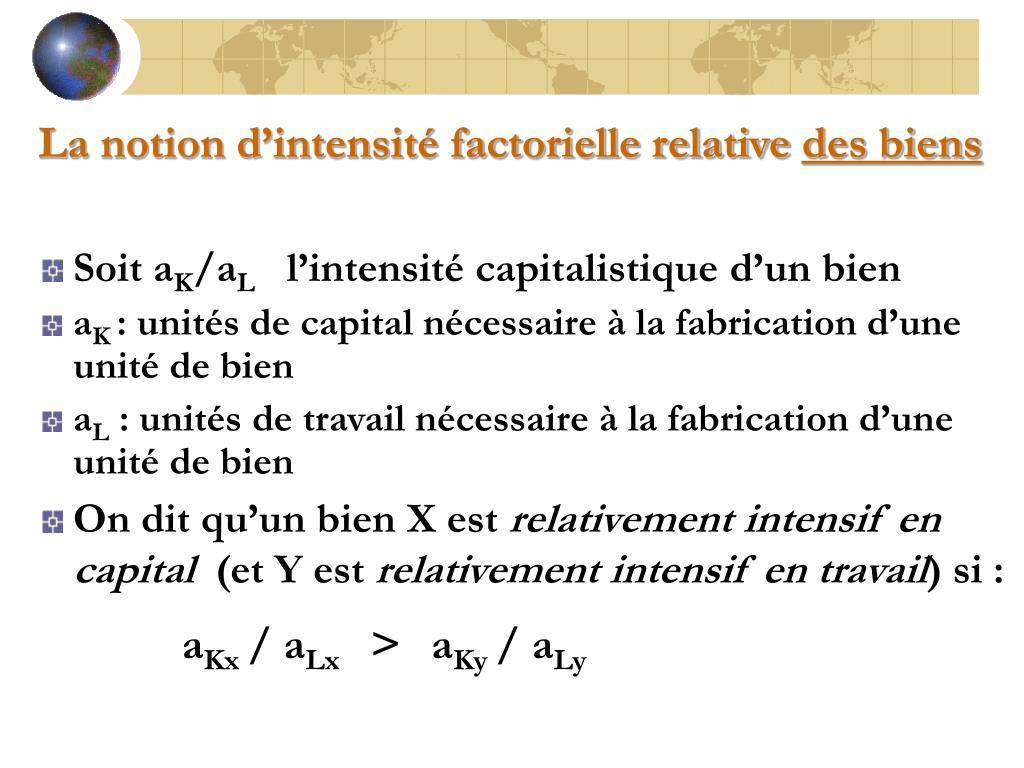 La notion d'intensité factorielle relative