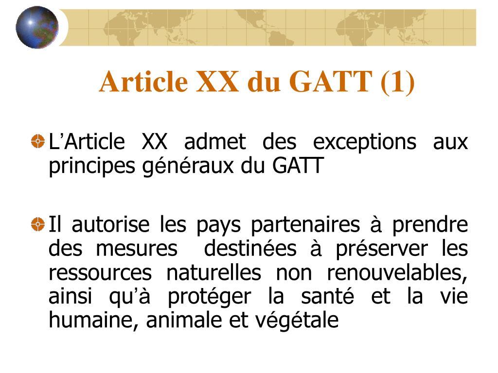 Article XX du GATT (1)