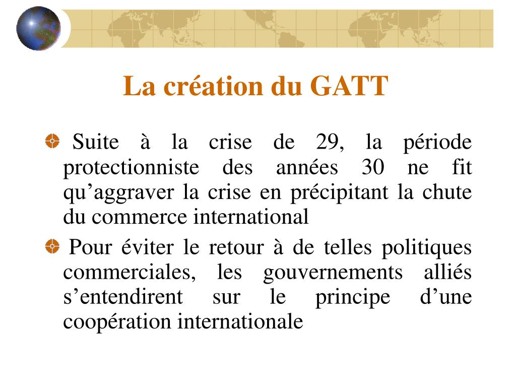 La création du GATT